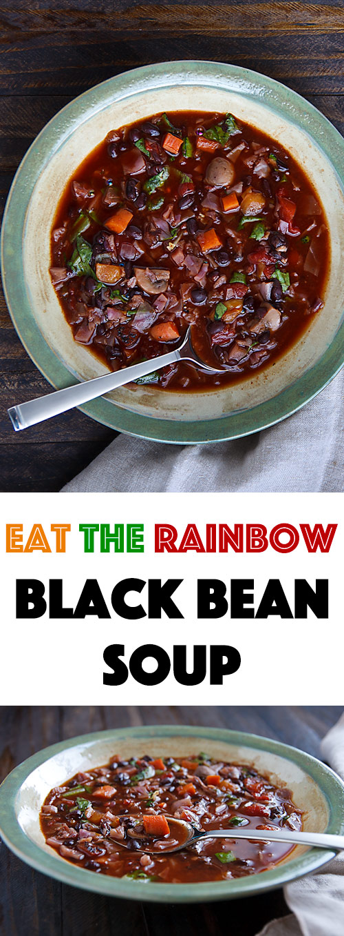 This vegan black bean soup has all the fresh vegetables of a salad with the warmth and comfort of a bowl of soup and is delicious too!