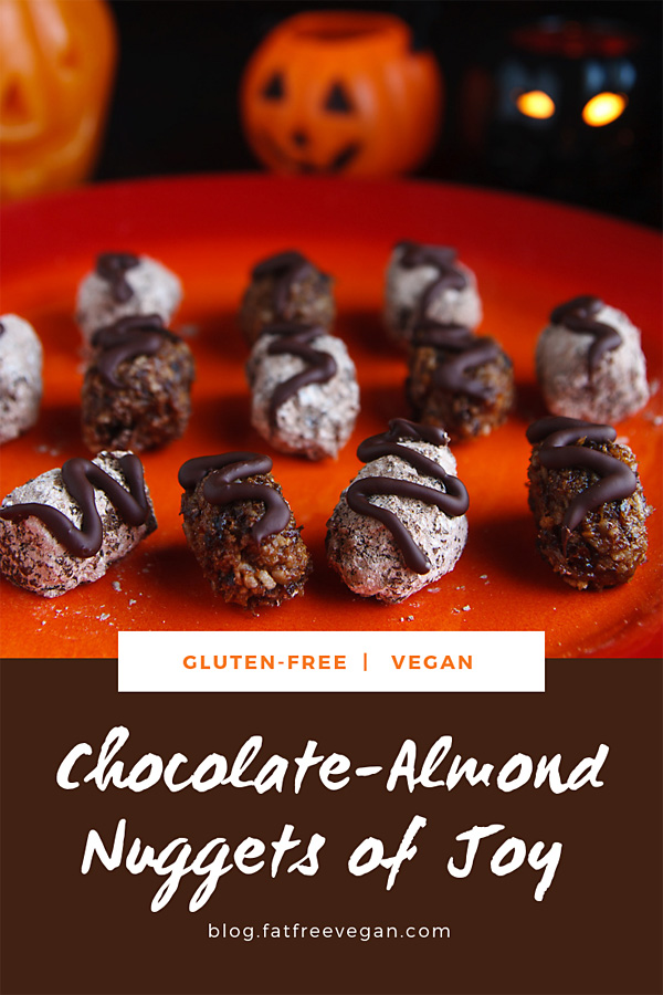 Chocolate-Almond Nuggets of Joy: Vegan Almond Joy, but healthy! If you have a craving for coconut and chocolate, these vegan treats fill the void, with a little fruity flavor as a bonus. #vegan #wfpb