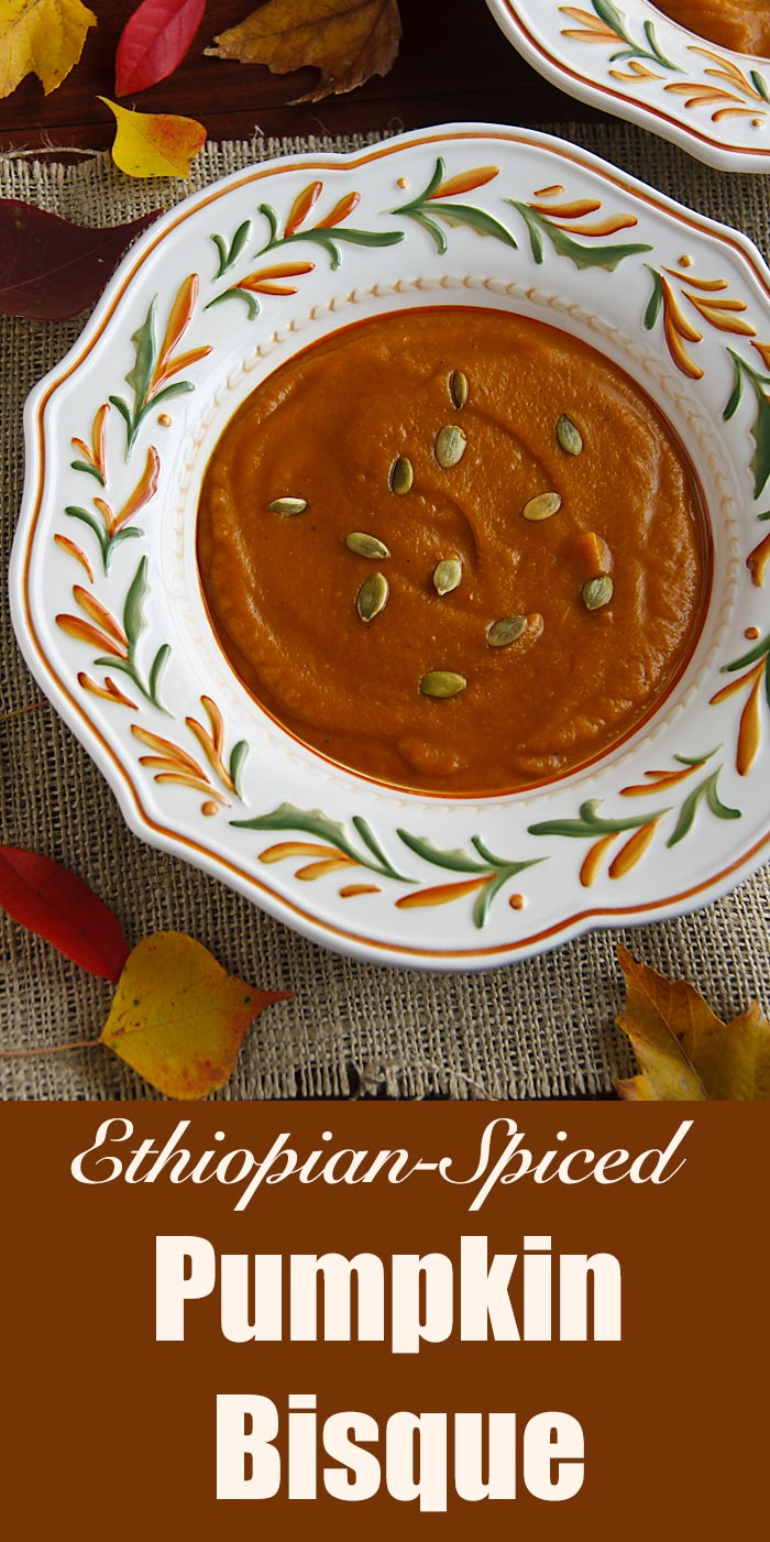Sultry, spicy, and a little sweet, this creamy, vegan pumpkin soup is flavored with warming Ethiopian spices. Naturally gluten-free.