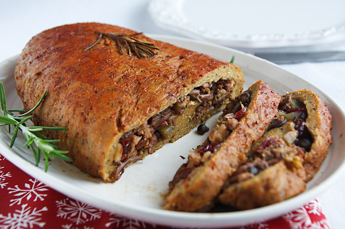 Stuffed Seitan with Walnuts, Cranberries, and Mushrooms