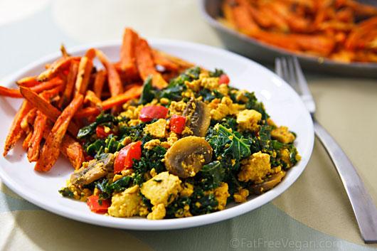 Simple Scrambled Tofu and Kale