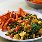 Simple Scrambled Tofu and Kale with Sweet Potato Fries
