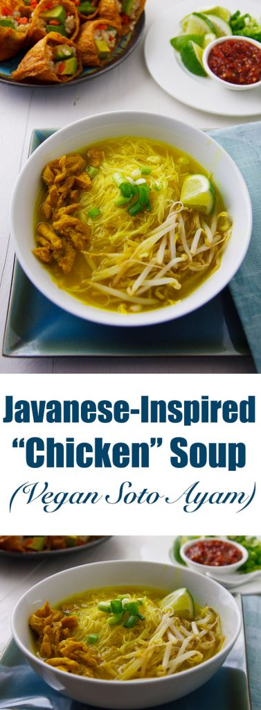 Take a break from ordinary vegan chicken soup with this Javanese-inspired meal-in-a-bowl with a broth richly spiced with ginger, garlic, and turmeric. #vegan #soup #wfpb #noodles
