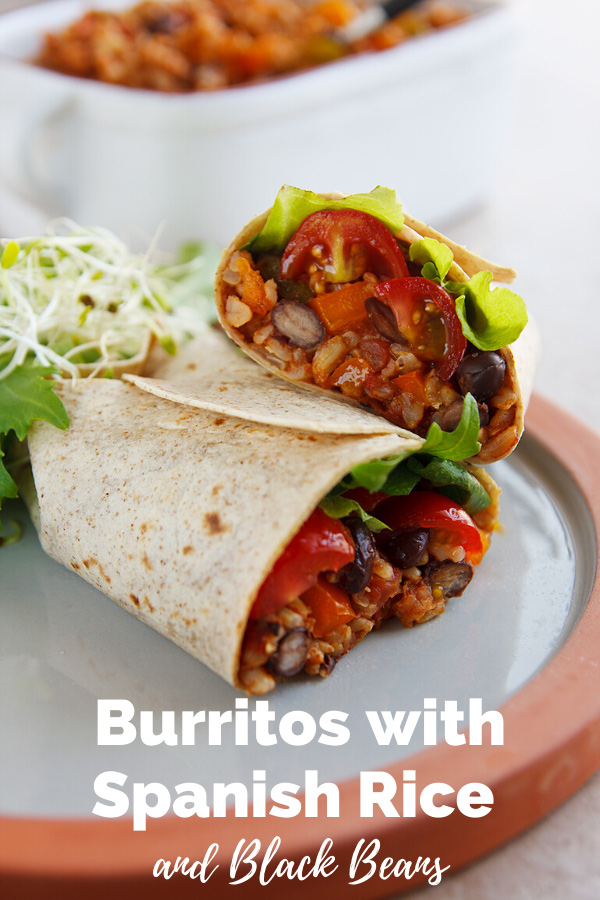 There's black beans in this vegan Spanish rice, making it especially filling in a burrito or wrap. #wfpbno #wfpb #vegan