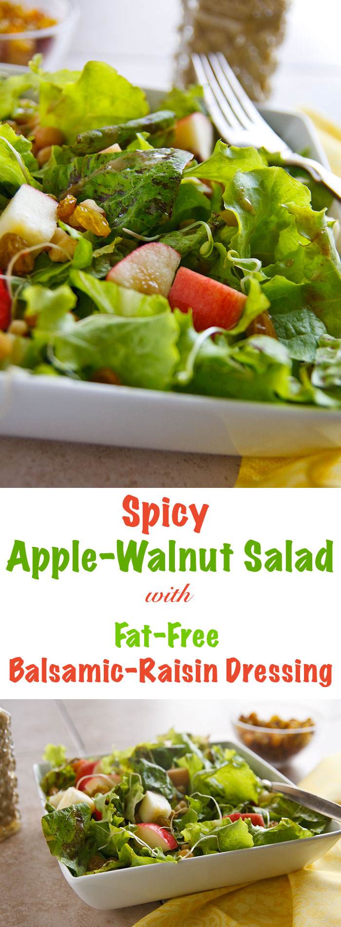 This vegan salad combines the sweetness of apples and raisins with the heat of jalapeño peppers and a naturally sweetened fat-free balsamic dressing.