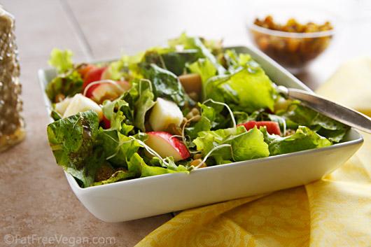 Spicy Apple-Walnut Salad with Fat-Free Balsamic-Raisin Dressing