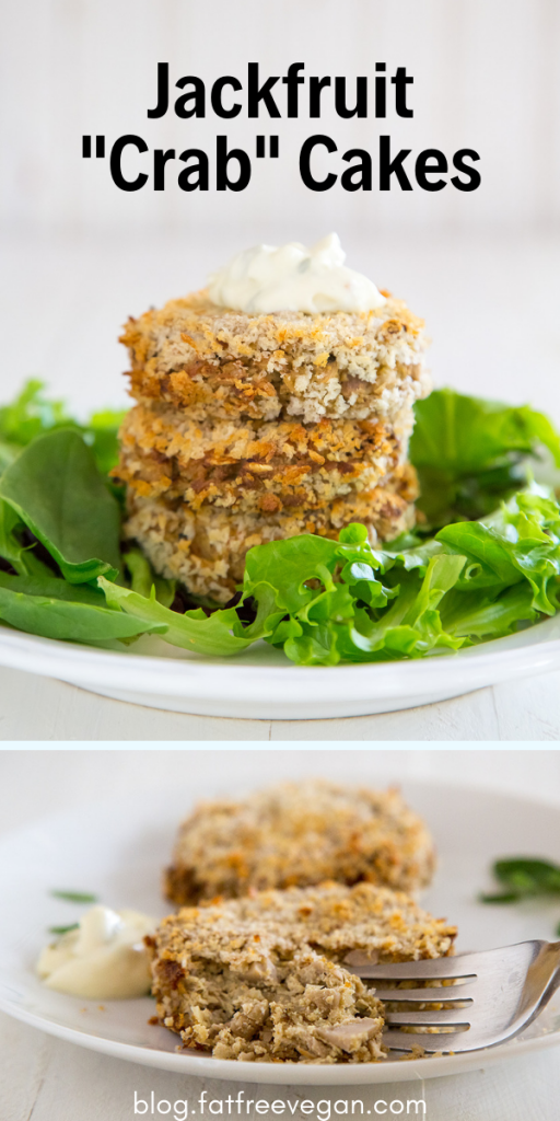 Jackfruit Vegan Crab Cakes: Jackfruit adds a flaky texture to these vegan crab(like) cakes, made rich with tofu or white beans for a soy-free option. #vegan #wfpb