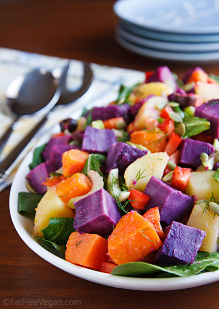 Using three kinds of potatoes makes every bite of this vegan potato salad a surprise. Kalamata olives and an apple cider vinaigrette boost the flavor to 11.