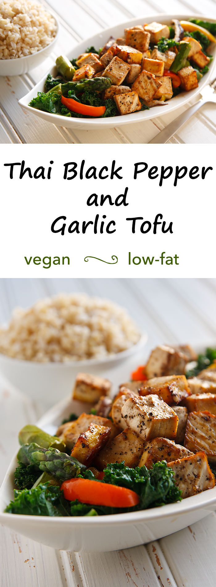 Thai Black Pepper and Garlic Tofu: Peppery cubes of tofu top steam-fried vegetables that have the lightest of garlic sauces in this low-fat, vegan Thai tofu dish.