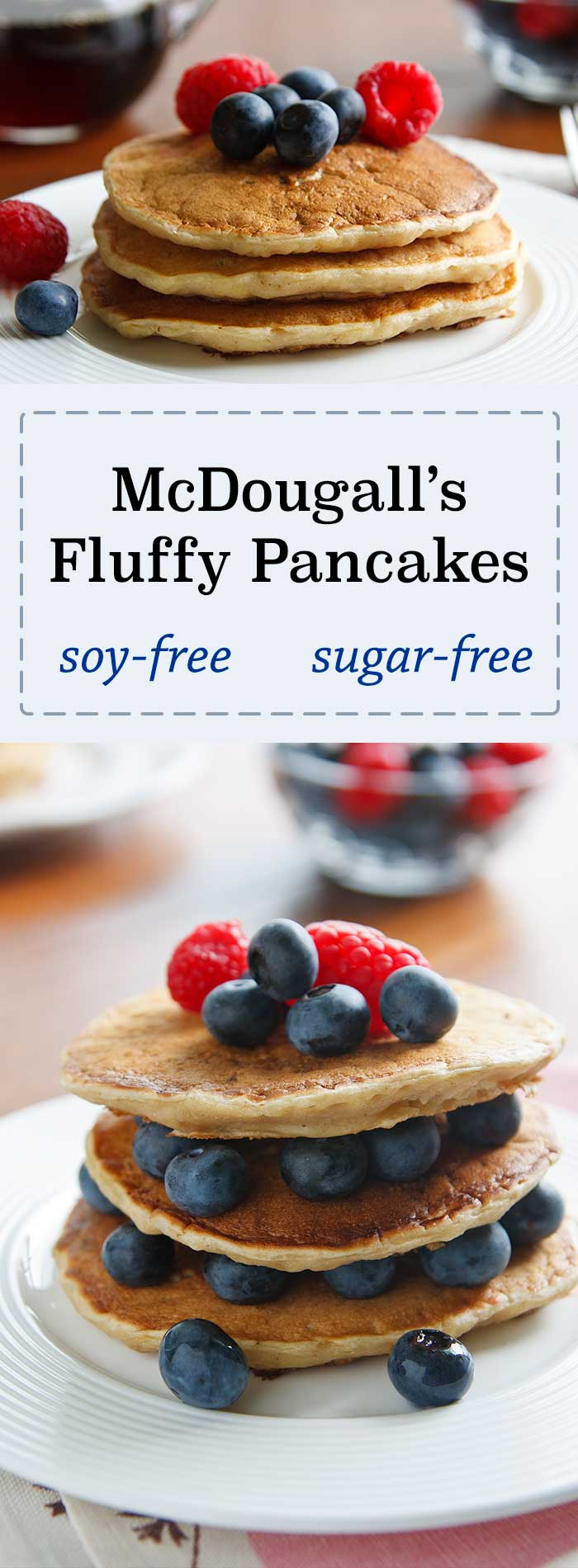 These vegan pancakes are fluffy without eggs and contain no added sugar or soy. Banana adds flavor and tenderness!