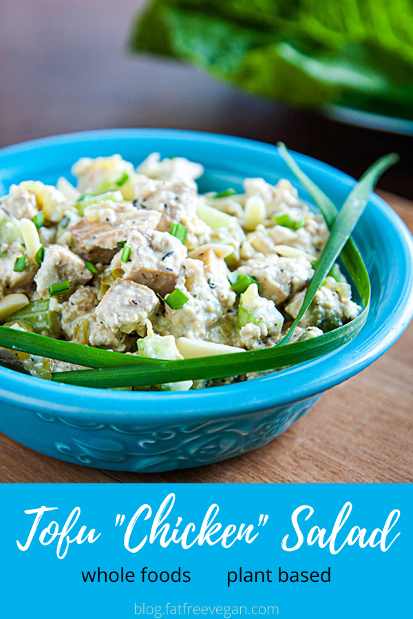 Tofu Chicken Salad: Baking the tofu gives this vegan chicken salad great flavor and chewy texture, making it a light and healthy sandwich filling. #vegan #wfpb