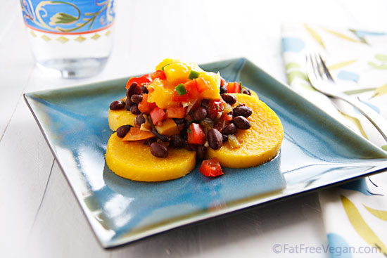 Polenta with Black Beans and Mango Salsa from The Starch Solution
