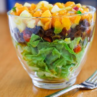 Layered Salad with Black Beans and Mango-Cucumber Salsa