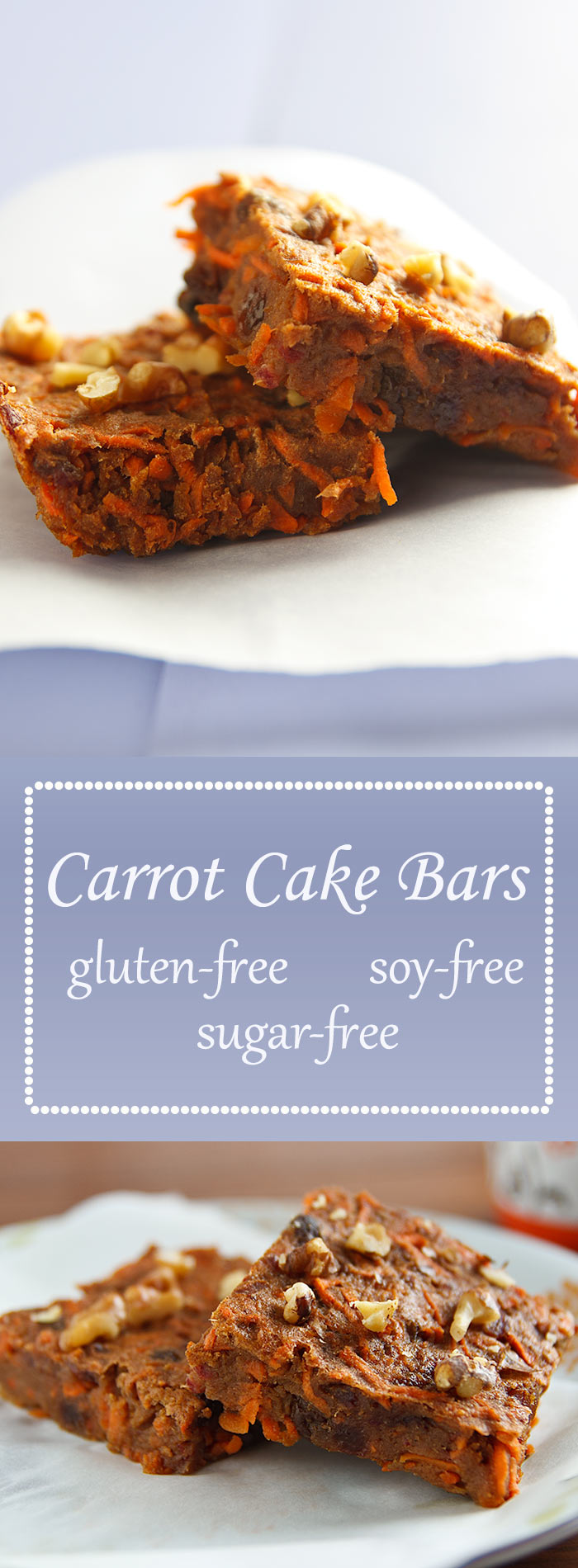 Dense and chewy, these date-sweetened, vegan carrot cake bars are packed with spicy flavor. Plus they're soy and gluten-free.