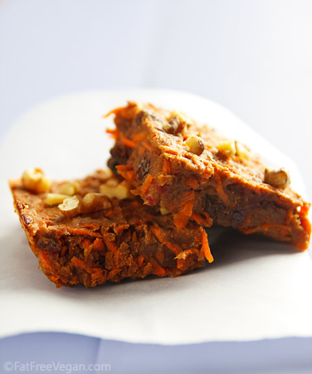 Carrot cake bars recipe from fatfree vegan kitchen for Bar food vegetarian