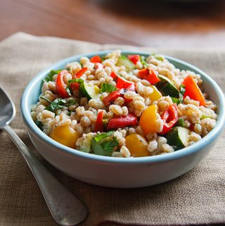 Farro Salad with Tomatoes and Grilled Zucchini