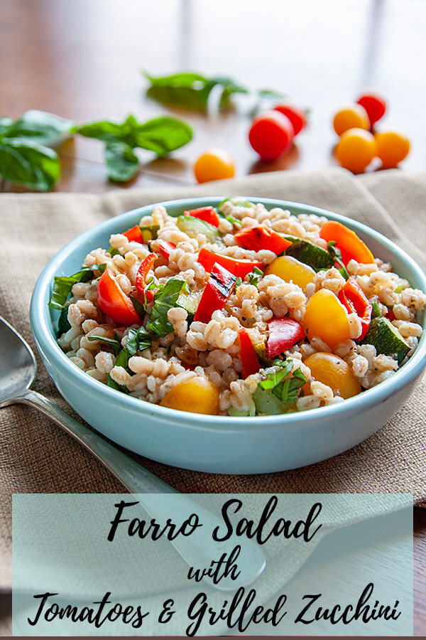 Farro Salad with Tomatoes and Grilled Zucchini: Put your summer zucchini to good use in this delicious vegan farro salad. Farro is a delightfully chewy grain, perfectly accompanied by a lemony oil-free dressing. #wfpb