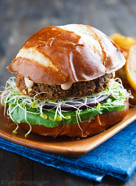 Savory Lentil Mushroom Burgers Fatfree Vegan Kitchen