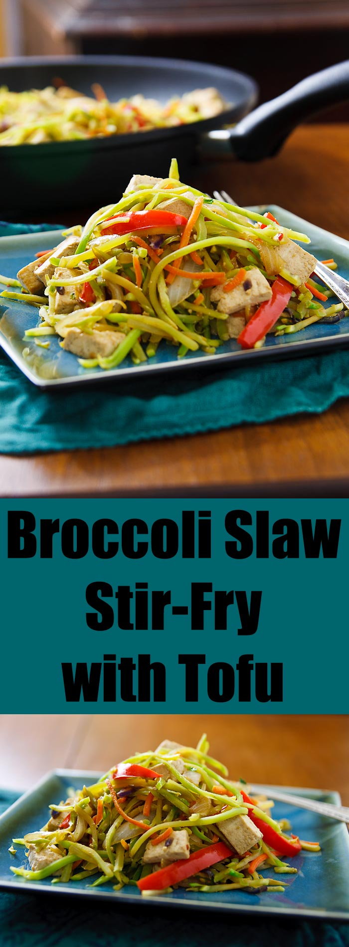 Packaged broccoli slaw makes a quick and easy stir-fry and, with the addition of tofu, a filling but low-fat vegan meal.