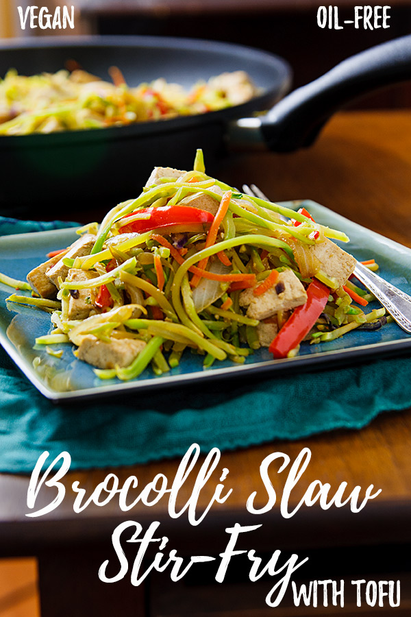 Broccoli Slaw Stirfry with Tofu: Packaged broccoli slaw makes a quick and easy stir-fry and, with the addition of tofu, a filling but low-fat vegan meal.