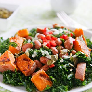 Kale Salad with Sweet Potatoes and Pumpkin Seed Dressing