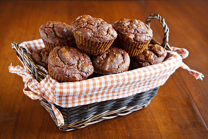 Mary's Pumpkin Walnut Muffins in a Basket