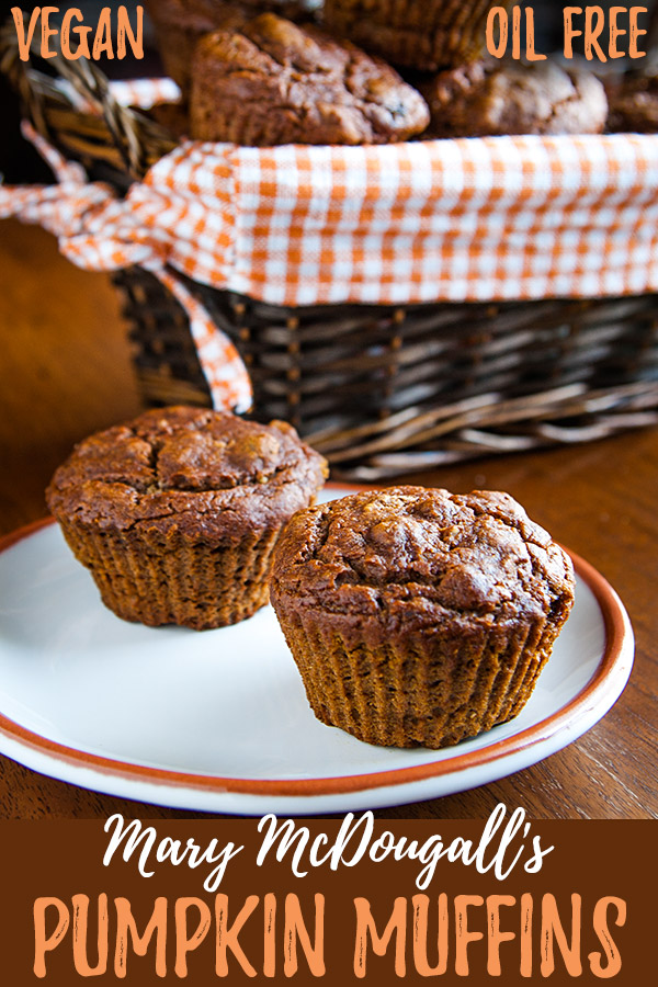 Mary McDougall's Pumpkin Walnut Muffins: These rich-tasting muffins are sweetened with molasses. No one will believe there's no oil added! #wfpb #vegan