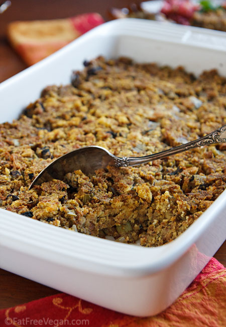 Vegan Southern-Style Cornbread Dressing | Recipe from FatFree Vegan ...