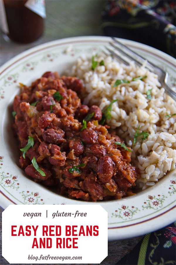 Easy Vegan Red Beans and Rice: This easy red beans and rice recipe cuts the time of cooking by more than half using pre-cooked red beans. #wfpbno #vegan #veganww #freestyle #zeropoints #glutenfree #gluten-free.