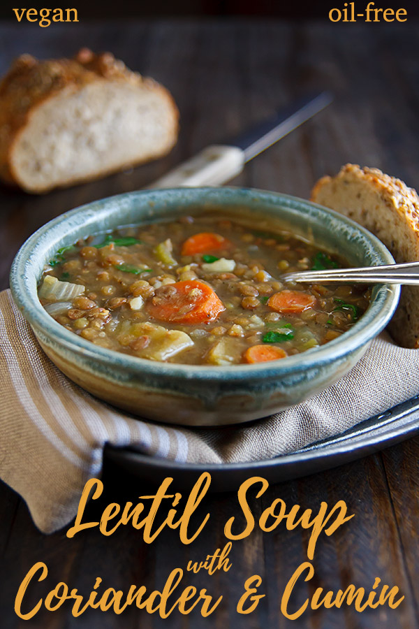 Lentil Soup with Coriander and Cumin: Warm up your fall or winter nights with this subtly spiced, low-fat, #vegan lentil soup. #oilfree #wfpb