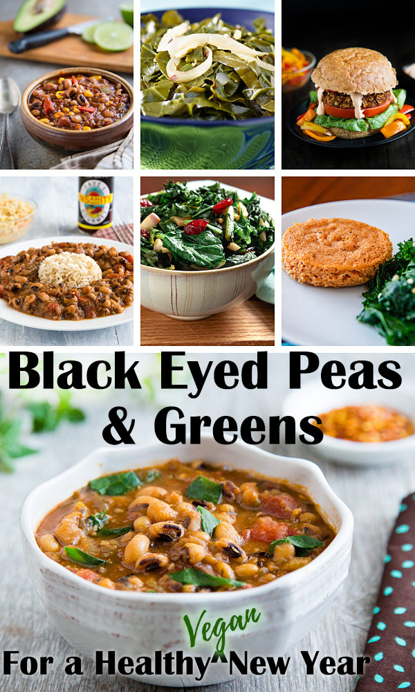 Black Eyed Peas and Greens for a Healthy Vegan New Year: Celebrate the new year the healthy way with these international blackeyed pea and greens recipes. Creole, Indian, Southern, and Nigerian recipes are included in these plant-based favorites. #wfpb