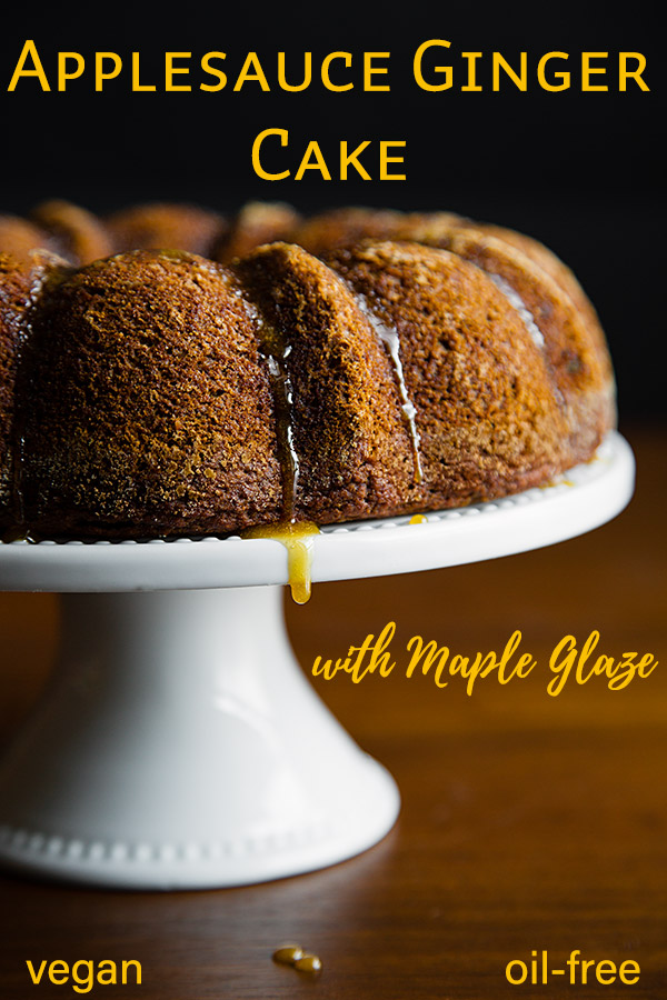 Applesauce Ginger Cake with Maple Glaze: No one will ever believe that this #vegan ginger cake is made with whole wheat flour and no added fat. It's amazing!