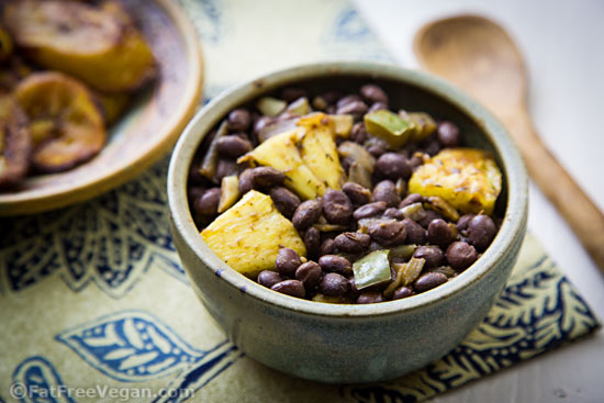 Caribbean Pineapple Black Beans and Oven-Fried Plantains