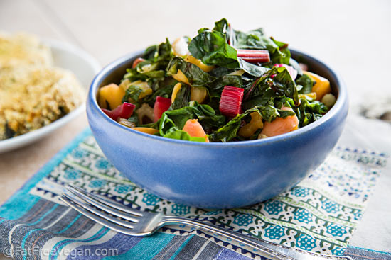 Swiss Chard with Crisp Apples