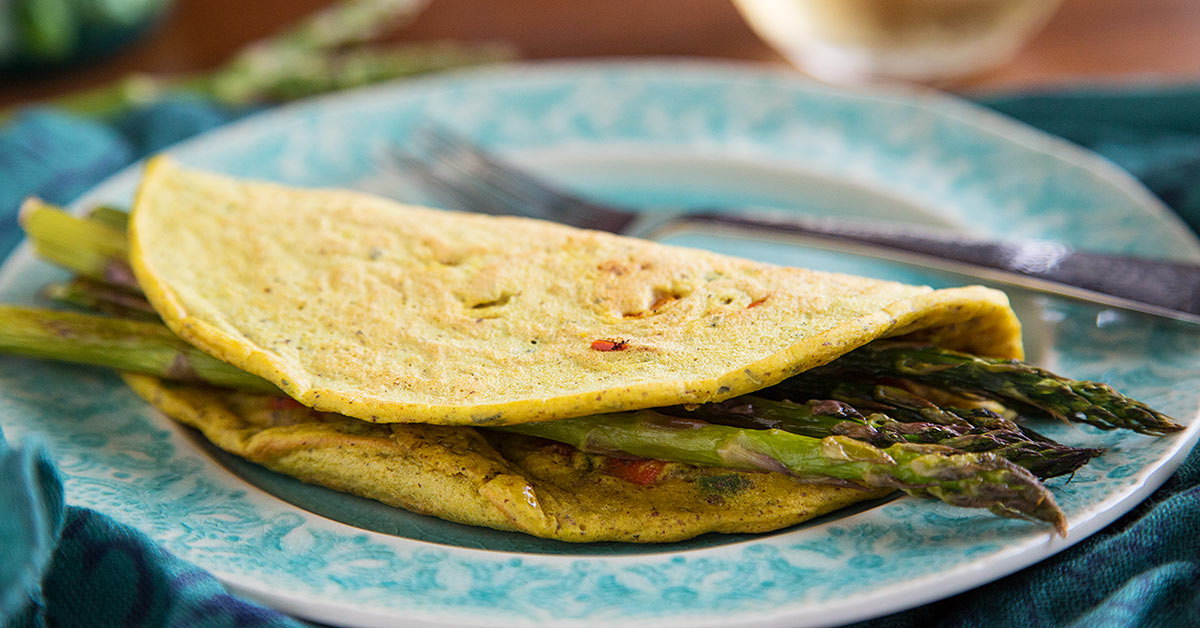 Chickpea Flour Omelets with Asparagus Recipe