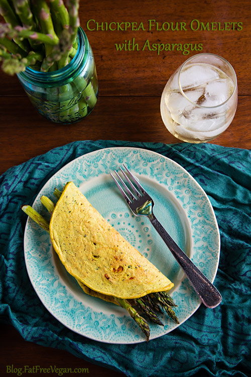 Chickpea Flour Omelettes with Asparagus: More like flatbreads than omelets, these vegan chickpea crepes or pancakes have a nutty and almost cheesy flavor all their own.