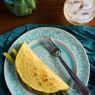 Chickpea Flour Omelettes with Asparagus
