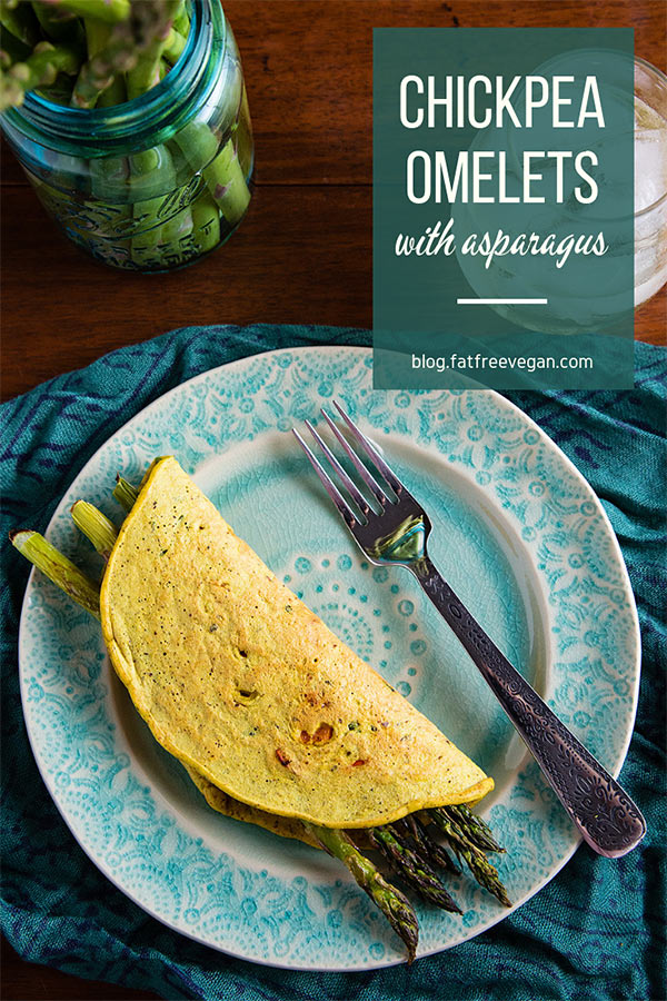 Chickpea Flour Omelettes with Asparagus: these vegan chickpea omelets or crepes have a nutty and almost cheesy flavor all their own. #vegan #wfpb