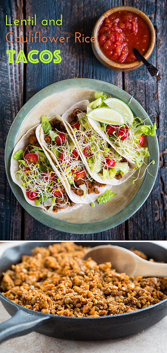 Lentil and Cauliflower Rice Tacos: Spicy riced cauliflower mixed with lentils to make the most delicious, low-fat vegan taco filling ever!