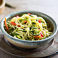 "Zucchini ""Noodles"" with Sesame-Peanut Sauce 