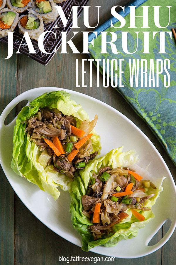 Mu Shu Jackfruit Lettuce Wraps: Young green jackfruit is simmered with ginger root and garlic in this ultra-light #vegan version of mu shu pork. Wrapped in lettuce leaves, it's under 100 calories!