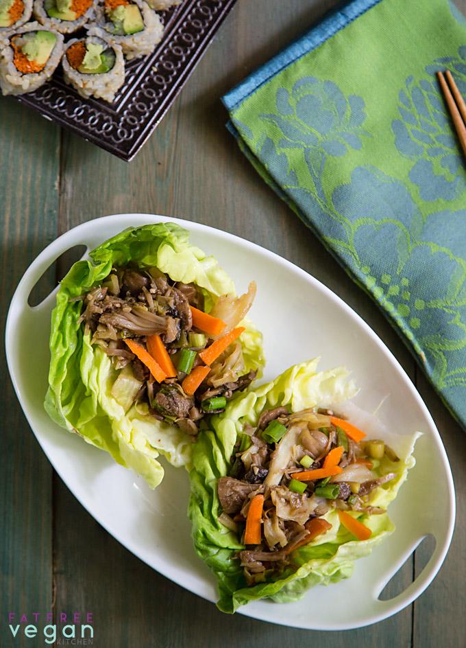 Mu Shu Jackfruit Lettuce Wraps: jackfruit pulled pork with Mu Shu flavors. Vegan, low-fat, and under 100 calories!