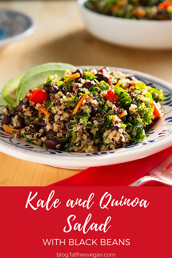 Kale and Quinoa Salad with Black Beans: Vibrant green kale is massaged with a lemony, cumin and chile dressing and tossed with chilled quinoa and black beans for a zesty quinoa salad. #vegan #wfpb