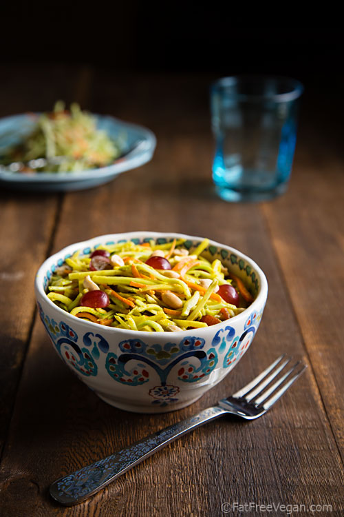 Broccoli Slaw with Pineapple Curry Dressing: Crunchy, spicy, nutty, and sweet, this light salad takes minutes to make and contains less than 70 calories per serving.