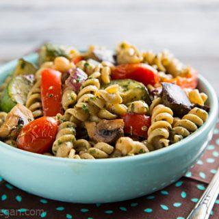 Warm Pasta Salad with Chickpeas and Pesto Vinaigrette