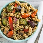 Warm Pasta Salad with Roasted Vegetables and Pesto Vinaigrette