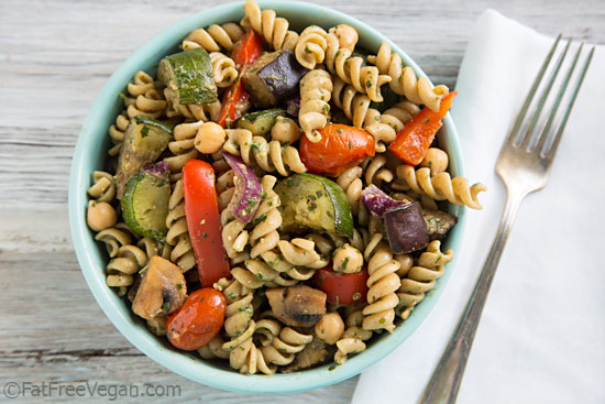 Warm Pasta Salad with Chickpeas, Roasted Vegetables, and Pesto Vinaigrette