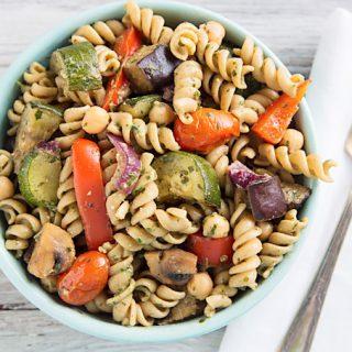 Warm Pasta Salad with Roasted Vegetables and Pesto Vinaigrette