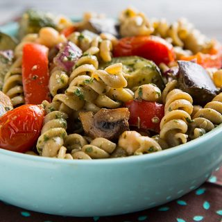 Warm Pasta Salad with Pesto Vinaigrette