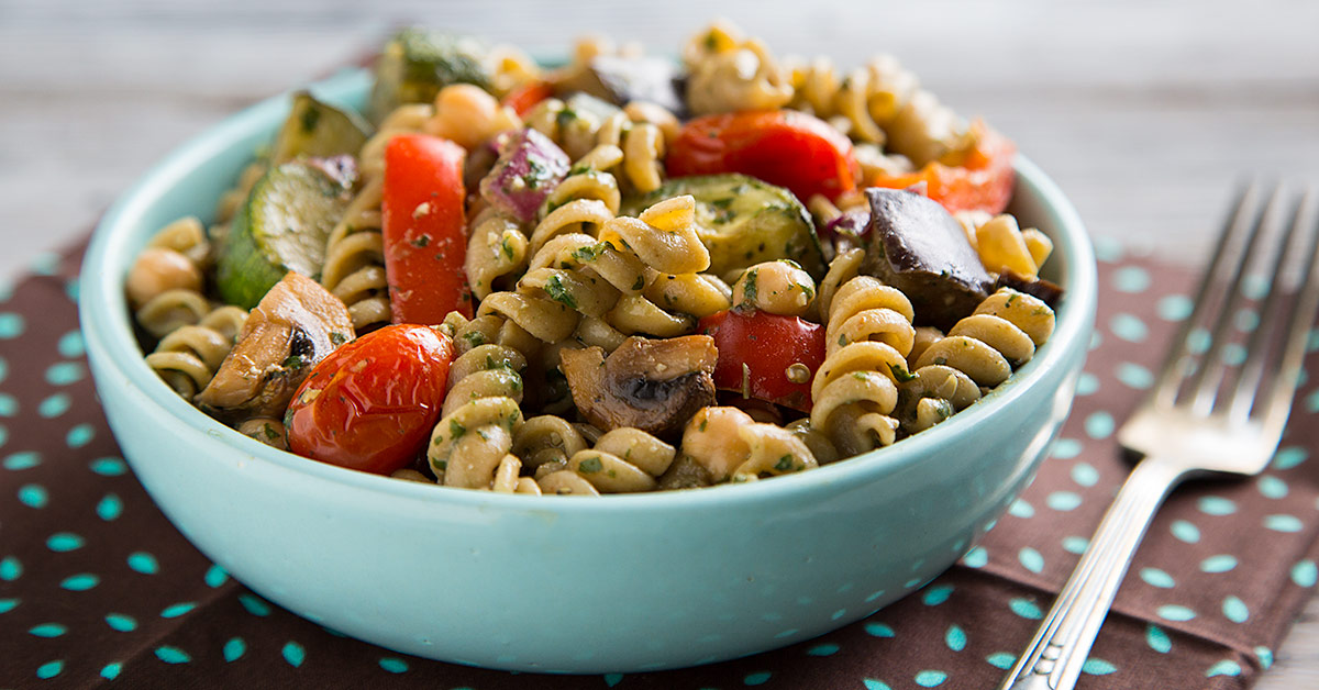 Warm Pasta Salad with Roasted Vegetables and Pesto Vinaigrette Recipe